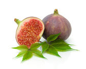 Fresh figs and leaves on a white background — Stock Photo