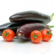 Cherry tomatoes and eggplants - Stockfoto