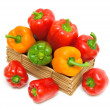 Pepper in a wooden box. top view — Stock Photo