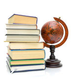 Books and vintage globe on white background — Stock Photo