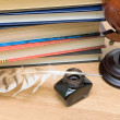 School supplies close-up. horizontal photo. — Stock Photo