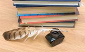 ペン、インク、木製ボード — ストック写真
