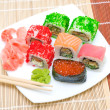 Japanese cuisine. Different sushi rolls. View from above. — Stock Photo