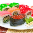 Japanese cuisine. sushi rolls close-up. — Stock Photo