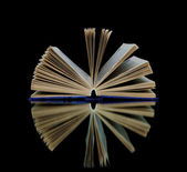 Book with reflection on black background — Stock Photo