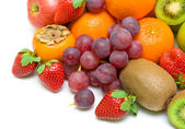 Fresh fruit on a white background. Top view. — Stock Photo