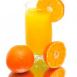 Orange juice and tangerines on a white background — Stock Photo