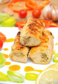 Chicken rolls with vegetables closeup — Stock Photo