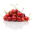 Ripe cherry on white background with reflection — Stock Photo #20395205