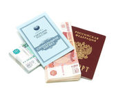Passport, money and savings book on a white background — Stock Photo