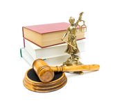 Gavel, the statue of justice and books on white background — Stock Photo