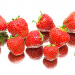 Berries of a ripe strawberry. white background - top view. — Stock Photo
