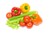 Celery and vegetables on a white background. horizontal photo. — Stock Photo