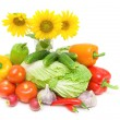 Stock Photo: Bouquet of sunflowers and vegetables. horizontal photo.
