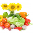 Bouquet of sunflowers and vegetables. horizontal photo. — Stock Photo