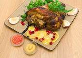 Appetizing baked pork knuckle close-up. top view - horizontal ph — Stock Photo