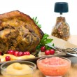 Pork shank with apples and cranberries close-up — Stock Photo #31365481
