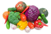 Fresh vegetables isolated on a white background. top view — Stock Photo