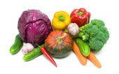 白い背景にクローズ アップする野菜. — ストック写真