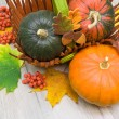 Three ripe pumpkins and maple leaves close-up — Stock Photo