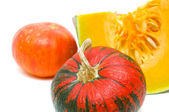 Ripe pumpkin on a white background close-up — Stock Photo