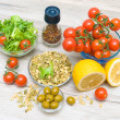 Fresh food ingredients on a wooden table. — Stock Photo