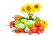 Bouquet of blooming sunflowers and fresh vegetables on a white b — Stock Photo