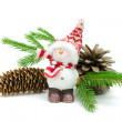 Snowman, cones and spruce twigs on a white background — Stockfoto
