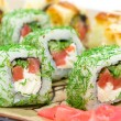 Stock Photo: Appetizing tasty Japan rolls close-up. horizontal photo.