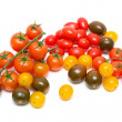 Tomatoes of different varieties and colors on a white background — Stock Photo