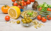 Food for salad closeup on wooden table — Stock Photo