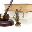 Statue of justice, gavel and books isolated on white background — Stock Photo #37575255