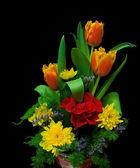 Bouquet on black background closeup — Stock Photo