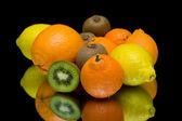 Fruit on a black background closeup — Stock Photo