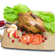Roasted wild duck on a plate - white background. — Stock Photo