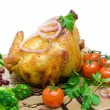 Grilled chicken with vegetables close-up - white background — Stock Photo #43761123