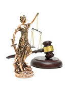 Statue of justice and gavel isolated on white background — Stock Photo