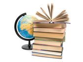 Books and globe on white background — Foto Stock