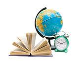 Book, globe and alarm clock isolated on white background — Stock Photo
