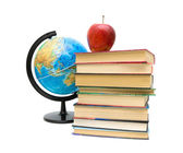 Globe, books and apple isolated on white background — Stock Photo