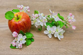 Apple and flowers on wooden background — Stock Photo