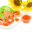 Salmon grilled steak, grilled shrimp and red caviar on a white b — Stock Photo