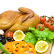 Grilled chicken with vegetables and greens closeup — Stock Photo #47571953