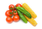 Tomatoes, cucumbers and corn isolated on white background — Fotografia Stock
