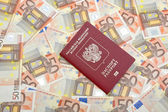 passport on euro background closeup — Foto Stock