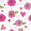 Seamless pattern of roses — Stok Vektör
