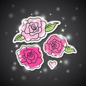 Rose rosa su nero — Vettoriale Stock