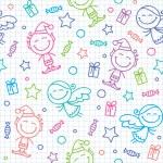 Christmas hand drawn pattern — Stock Vector