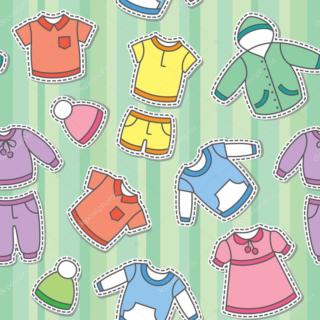 Детская одежда — Векторное изображение © redcollegiya ...: http://ru.depositphotos.com/17613061/stock-illustration-childrens-clothes.html