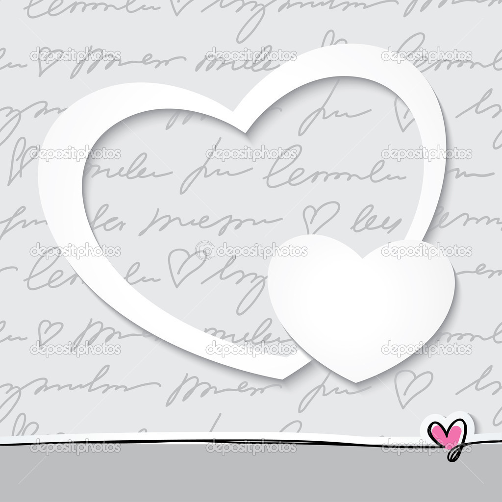 Vector frame with paper hearts on hand drawn background — Stock Vector #19085473